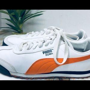 Men's Leather Puma White & Orange Sneakers